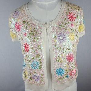 Sequin Floral Shrug